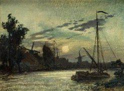 Landscape with Ships | Johan Barthold Jongkind | Oil Painting