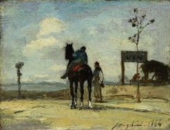 Rider and Figure in Landscape | Johan Barthold Jongkind | Oil Painting