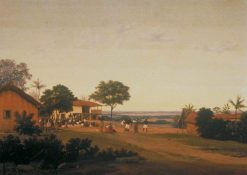 Brazilian Village with Buildings and Native Figures | Frans Post | Oil Painting