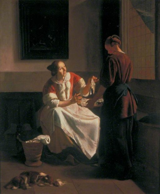 A Lady and Maid Choosing Fish | Jacob Ochtervelt | Oil Painting