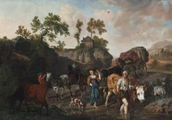 Landscape with an Old Herdsman and Young Market Girl Fording a Stream Followed by Two Horse-and-Cart | Dirck van den Bergen | Oil Painting