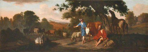 Landscape with Mercury and Battus and Various Animals | Dirck van den Bergen | Oil Painting