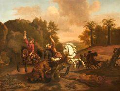 Orientals Spearing a Lion Devouring a Fallen Rider