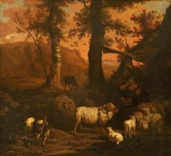 A Landscape with a Shepherd under an Awning Surrounded by Sheep and a Goat | Dirck van den Bergen | Oil Painting