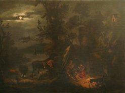 Night Scene with Figures Grouped around a Fire | Dirck van den Bergen | Oil Painting