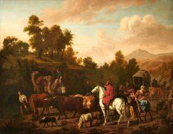 Mountainous Landscape with a Caravan | Dirck van den Bergen | Oil Painting