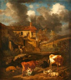 Landscape with a Milkmaid Milking a Cow