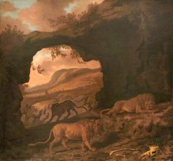 A Pair of Lions with a Leopard in a Cave | Dirck van den Bergen | Oil Painting