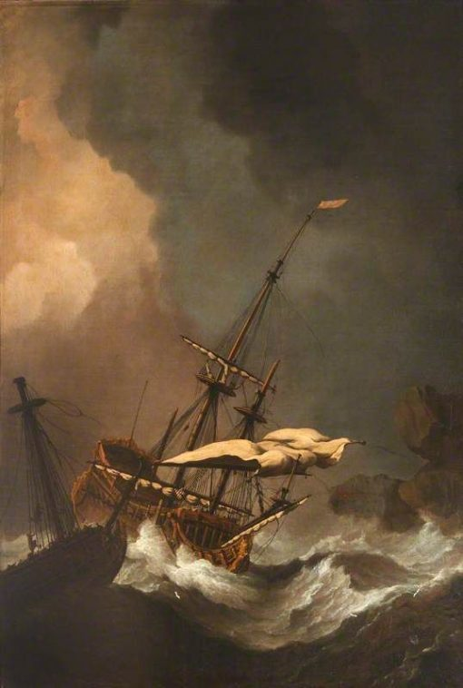 A Storm: Two English Ships being Driven on to Rocks | Willem van de Velde the Younger | Oil Painting
