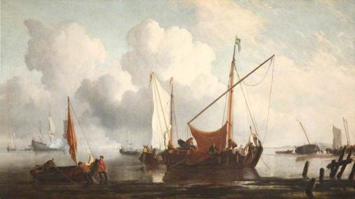 A Calm: A Kaag near the Shore with Other Vessels | Willem van de Velde the Younger | Oil Painting