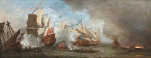 A Sea Battle | Willem van de Velde the Younger | Oil Painting