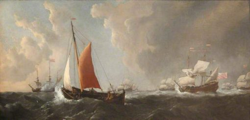 A Storm: An English Galliot Beating to Windward in a Gale | Willem van de Velde the Younger | Oil Painting