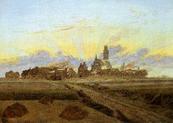 Neubrandenburg in Flames(also known as Sunrise near Neubrandenburg) | Caspar David Friedrich | Oil Painting