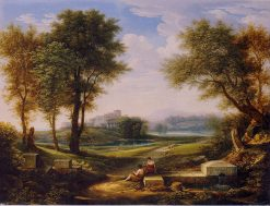 Ideal Landscape with Two Shepherds at a Spring. | Johann Christian Reinhart | Oil Painting