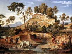 Serpentara Landscape with Herdsmen and cows at a Spring | Joseph Anton Koch | Oil Painting