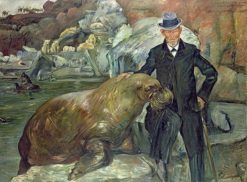 Carl Hagenbeck with the Walrus Pallas | Lovis Corinth | Oil Painting