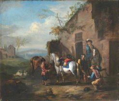 Travellers Halting outside a Forge | Pieter van Bloemen | Oil Painting