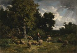 Shepherdess and Her Sheep | Charles Emile Jacque | Oil Painting