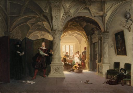 The Summons(also known as Entertaining the Messenger in the Outer Hall) | Emanuel Gottlieb Leutze | Oil Painting