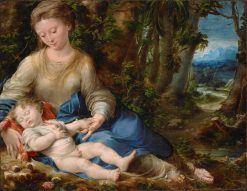 Virgin and Child in a Landscape | Girolamo Mazzola Bedoli | Oil Painting