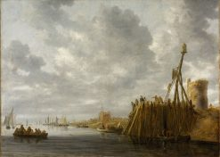 Harbor Scene with a Watchtower and Beacon | Jan van Goyen | Oil Painting