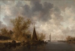 River Landscape with Fishing Boats | Jan van Goyen | Oil Painting