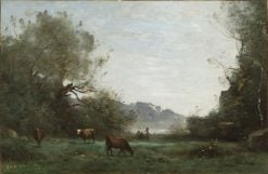 Cattle at Pasture in a Wooded Valley | Jean Baptiste Camille Corot | Oil Painting