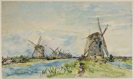 Windmills close to Rotterdam | Johan Barthold Jongkind | Oil Painting