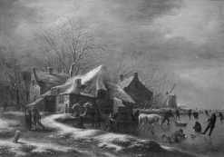 Winter Landscape with Cottages and a Windmill at the Bank of a Frozen River | Klaes Molenaer | Oil Painting
