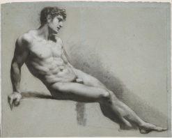 Male Nude Figure Resting | Pierre Paul Prud'hon | Oil Painting