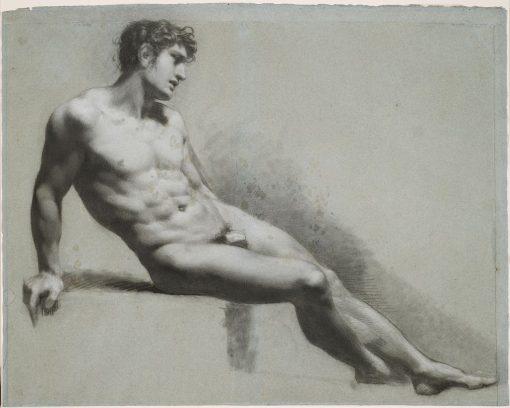 Male Nude Figure Resting   Pierre Paul Prud'hon   Oil Painting