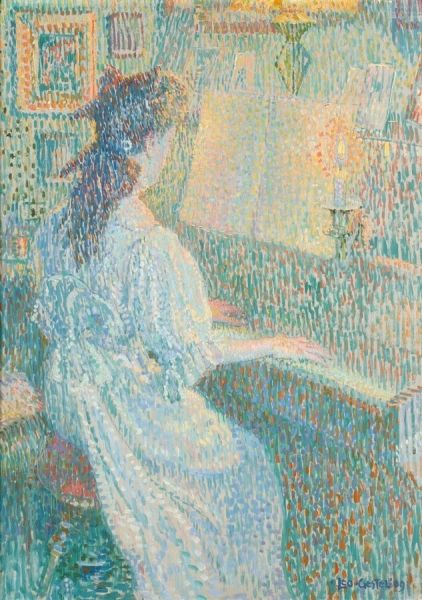 Daylight and Lamplight Study (Girl at the Piano) | Leo Gestel | Oil Painting