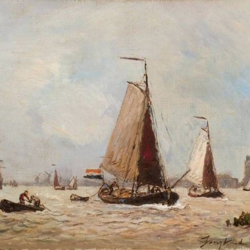 Sailing Boats in the Port of Dordrecht | Johan Barthold Jongkind | Oil Painting
