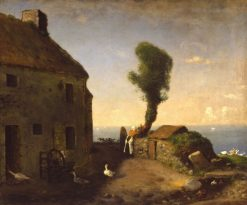 Le bout du village de Gruchy (The End of the Village of Gruchy) | Jean Francois Millet | Oil Painting