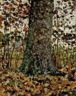Treetrunk in a Forest in Autumn | Jan Zandleven | Oil Painting