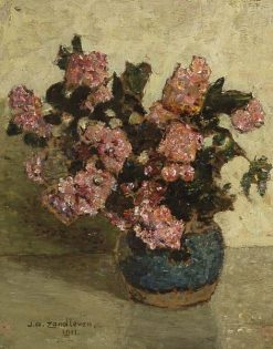 Gingerjar with Pink Flowers | Jan Zandleven | Oil Painting