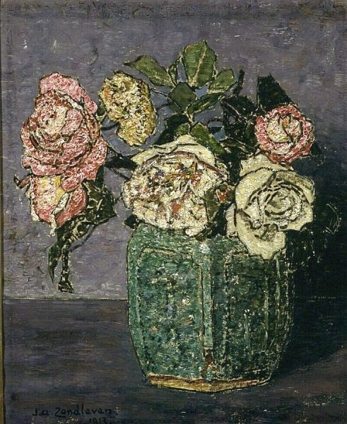 Roses in a Ginger Pot | Jan Zandleven | Oil Painting