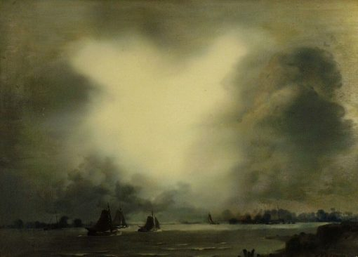 River Scene under Stormy Sky | Jan Voerman