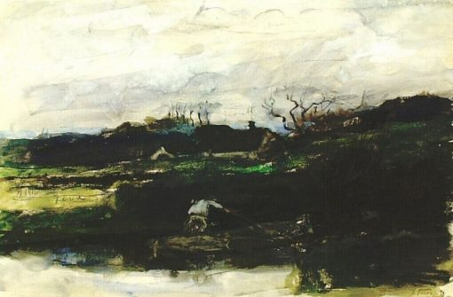 Landscape with a Man Punting a Boat | Jan Toorop | Oil Painting