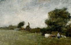 Landscape with a Meadow   Jan Toorop   Oil Painting