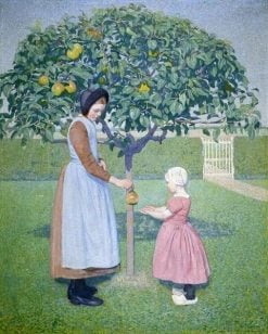 Girl and Little Child under an Apple-Tree | Ferdinand Hart Nibbrig | Oil Painting