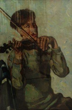 Portrait of the Artist Playing the Violin | Dick Ket | Oil Painting
