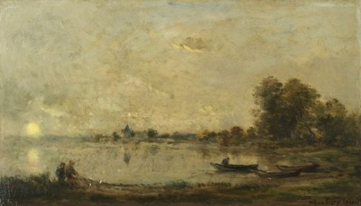 River at Sunset   Charles Francois Daubigny   Oil Painting
