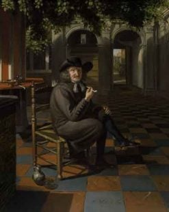 A Gentleman Smoking in a Shaded Courtyard | Matthijs Naiveu | Oil Painting