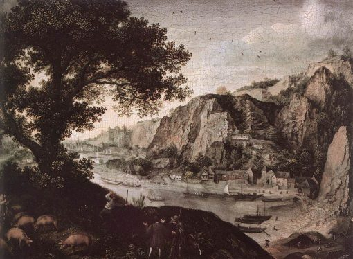 View of Huy from Ahin   Lucas van Valckenborch   Oil Painting