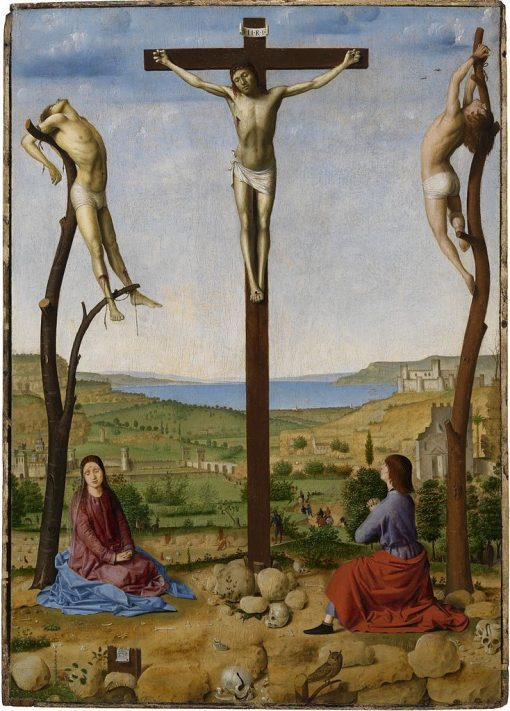 Crucifixion with Saint Mary and Saint John the Evangelist | Antonello da Messina | Oil Painting