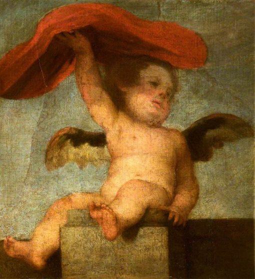 Putto-Angel Holding Something Red: A Fragment | BartolomE Esteban Murillo | Oil Painting