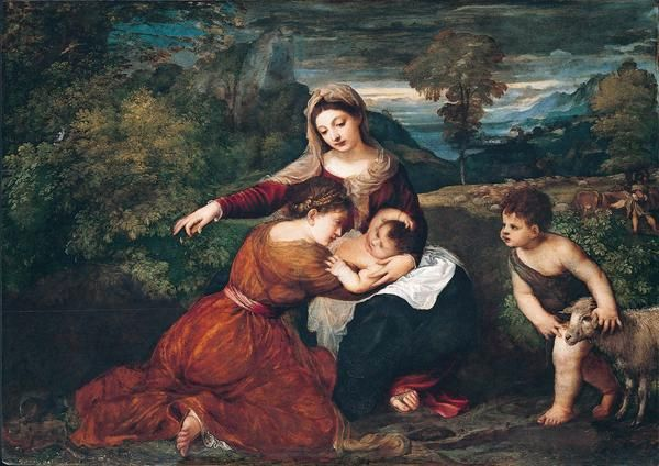 The Madonna and Child with a Female Saint and the Infant Saint John the Baptist | Titian | Oil Painting