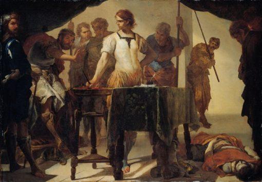 Gaius Mucius Scaevola Confronting King Porsenna   Bernardo Cavallino   Oil Painting