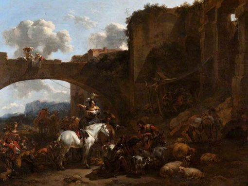 A Country Gathering by a Bridge | Nicolaes Berchem | Oil Painting